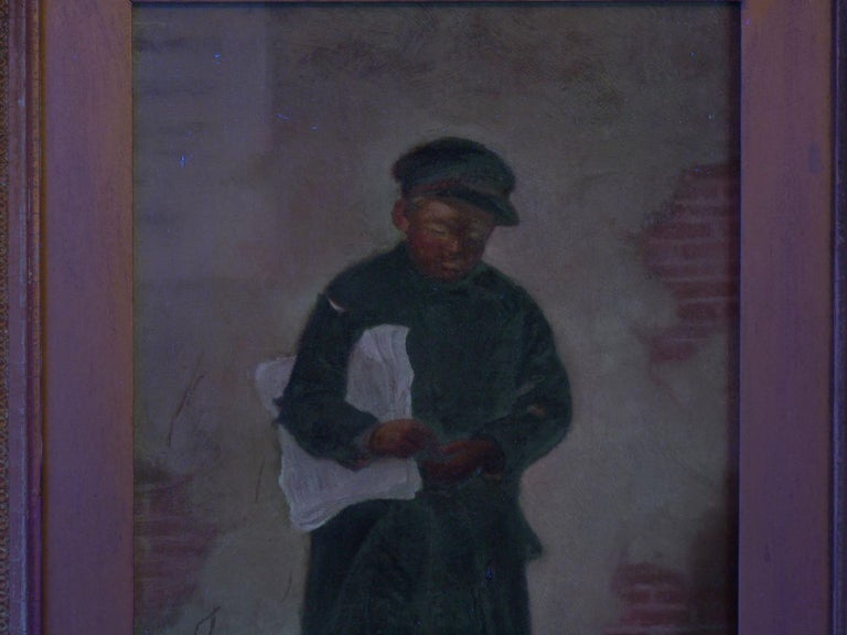 """""""the Newsboy"""" Antique Oil Painting by Charles Markham For Sale 9"""