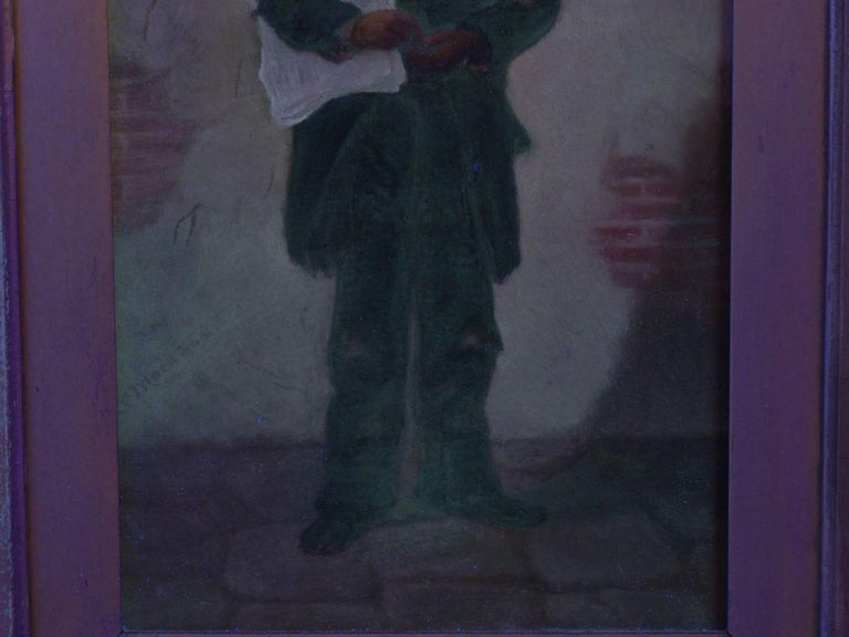 """""""the Newsboy"""" Antique Oil Painting by Charles Markham For Sale 10"""
