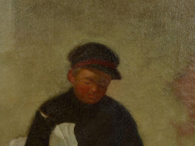 """""""the Newsboy"""" Antique Oil Painting by Charles Markham In Good Condition For Sale In Shippensburg, PA"""