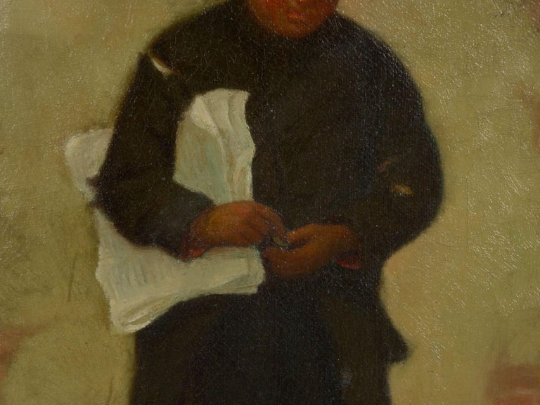 """19th Century """"the Newsboy"""" Antique Oil Painting by Charles Markham For Sale"""