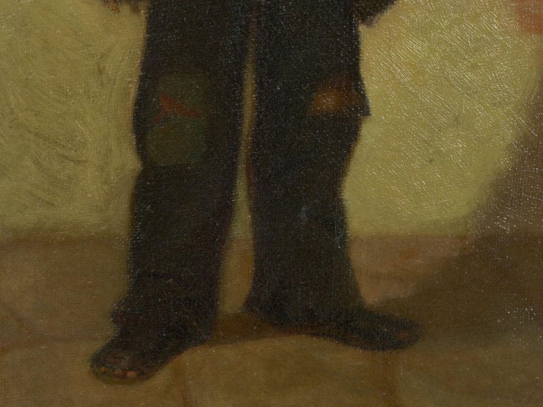 """Canvas """"the Newsboy"""" Antique Oil Painting by Charles Markham For Sale"""