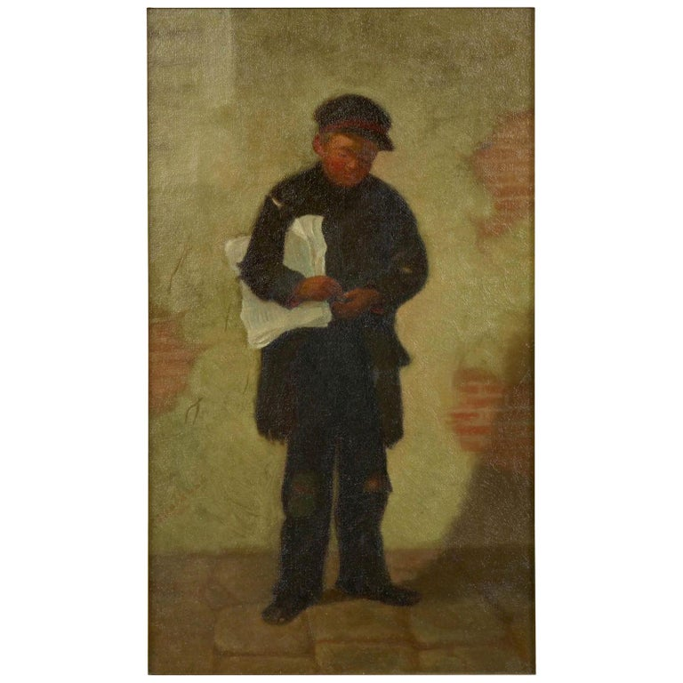 """""""the Newsboy"""" Antique Oil Painting by Charles Markham For Sale"""