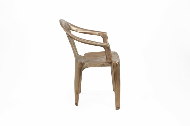 The name says it all, the non-disposable disposable chair, now available in bronze for indoor and outdoor use. It is one of the most recognizable chair designs across the globe - now done in bronze. The solid cast bronze chair has a raw brushed