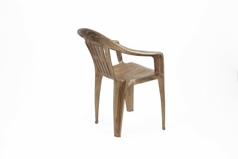American Non-Disposable Disposable Chair in Solid Bronze by Christopher Kreiling For Sale