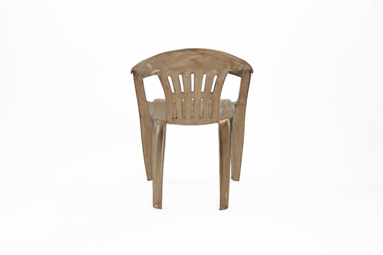 Brushed Non-Disposable Disposable Chair in Solid Bronze by Christopher Kreiling For Sale