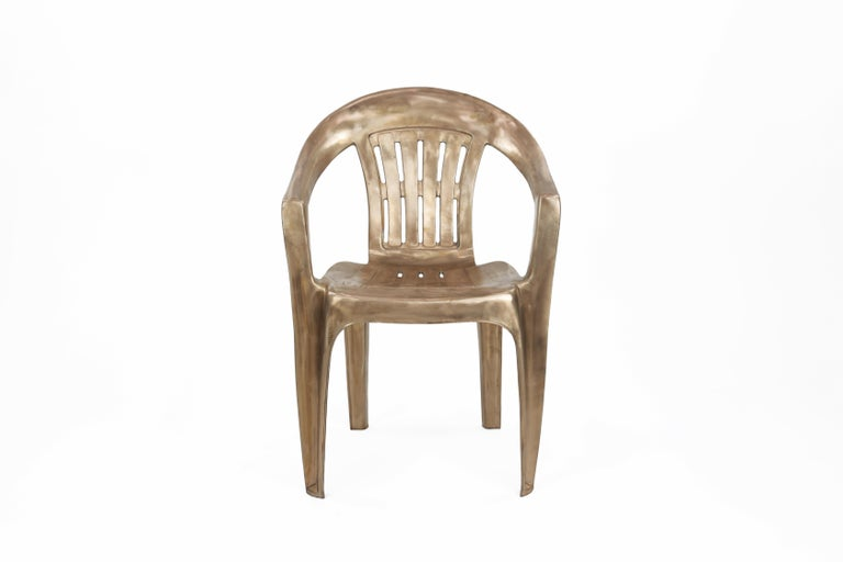 Non-Disposable Disposable Chair in Solid Bronze by Christopher Kreiling In New Condition For Sale In Pasadena, CA