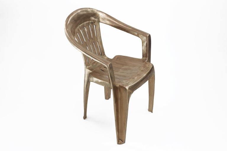 Contemporary Non-Disposable Disposable Chair in Solid Bronze by Christopher Kreiling For Sale
