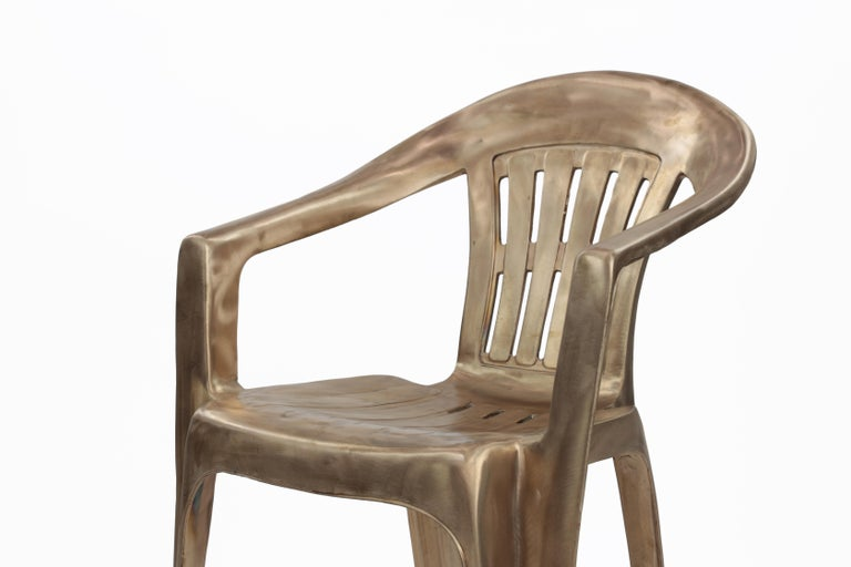 Non-Disposable Disposable Chair in Solid Bronze by Christopher Kreiling For Sale 1