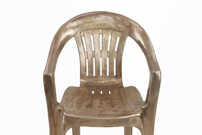 Non-Disposable Disposable Chair in Solid Bronze by Christopher Kreiling For Sale 2