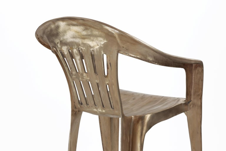 Non-Disposable Disposable Chair in Solid Bronze by Christopher Kreiling For Sale 3
