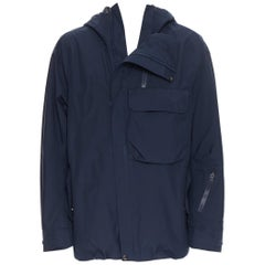 THE NORTH FACE GORE TEX blue asymmetric zip patch pocket hood windbreaker M / L