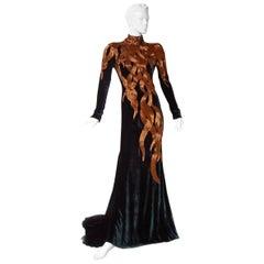 The NWT Alexander McQueen 2007 Velvet Beaded Flame Gown  Entrance Maker!