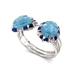 Oceanic Blooms 4-in-1 Transformable Carved Aquamarine Bangle Set by Dilys'
