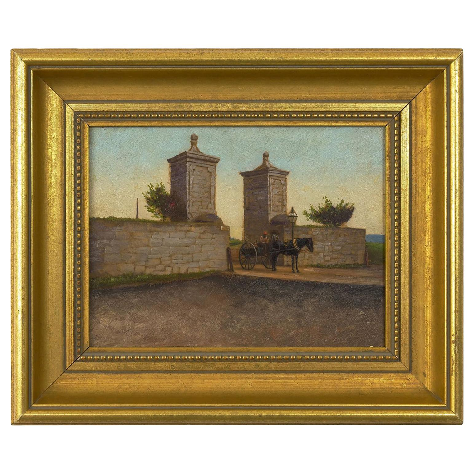 """Oil Painting on Photo """"Old City Gate, St. Augustine, FL"""" after John Stoddard"""