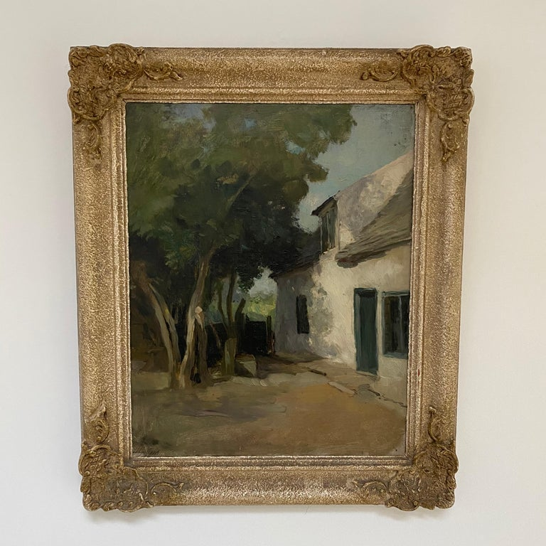 A really lovely painting by one of the country's greatest Botanical artists Henry George Moon. The crumbly old white washed cottage walls with the dappled sun drawing the viewers' attention to the door, sloping roof and upper window. The shadow cast