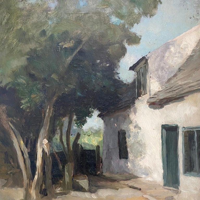 Old Cottage, Holywell St Ives, Oil on Canvas In Good Condition For Sale In Heathfield, East Sussex