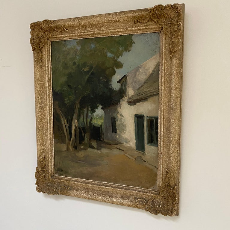 Early 20th Century Old Cottage, Holywell St Ives, Oil on Canvas For Sale