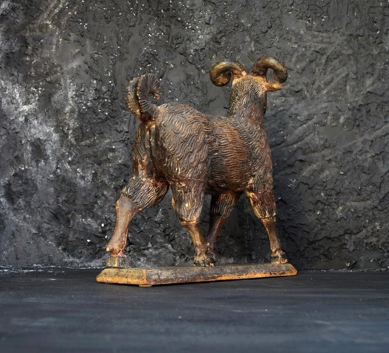 Hand-Carved The Old Ram c.1905 For Sale