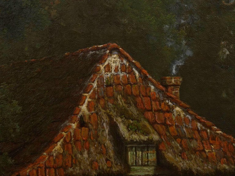 """""""The Old Red Mill"""" French Antique Oil Painting by Elisa Agnetus-Emilius Nyhoff For Sale 4"""