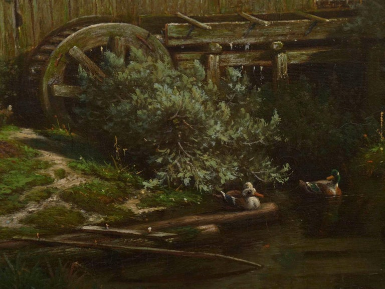 """""""The Old Red Mill"""" French Antique Oil Painting by Elisa Agnetus-Emilius Nyhoff For Sale 5"""