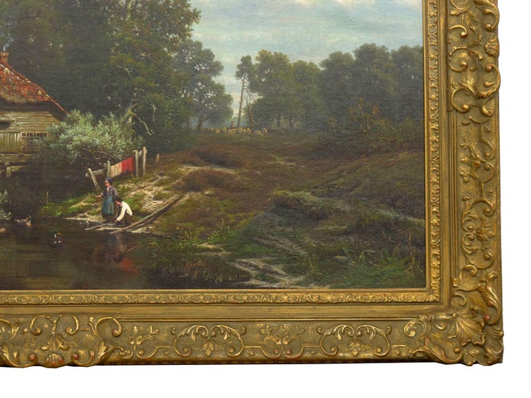 """""""The Old Red Mill"""" French Antique Oil Painting by Elisa Agnetus-Emilius Nyhoff For Sale 10"""
