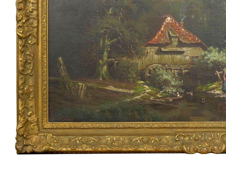 """""""The Old Red Mill"""" French Antique Oil Painting by Elisa Agnetus-Emilius Nyhoff For Sale 11"""