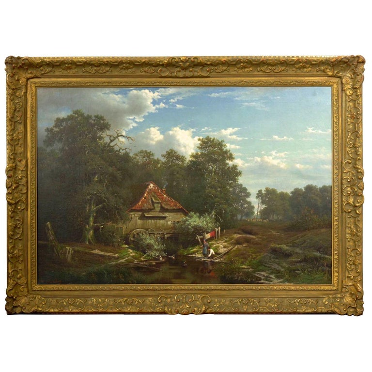 An exquisitely detailed genre scene of a young peasant boy and girl playing with the ducks by the pool of water trickling idly by from the water wheel of the aged mill; despite its seeming state of disrepair, it is actively being used as smoke