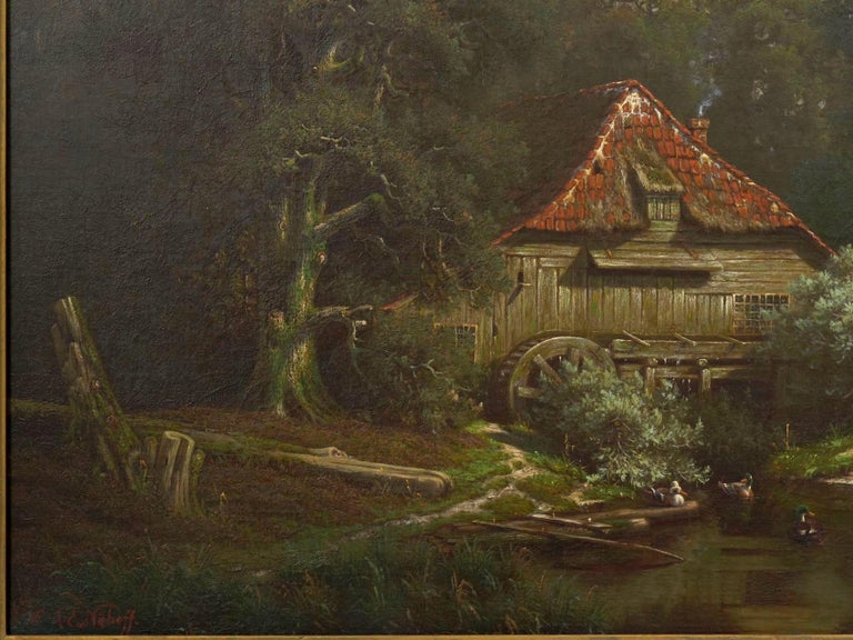 """19th Century """"The Old Red Mill"""" French Antique Oil Painting by Elisa Agnetus-Emilius Nyhoff For Sale"""