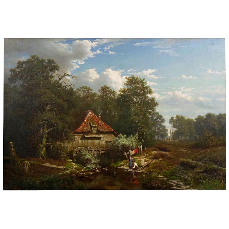 """""""The Old Red Mill"""" French Antique Oil Painting by Elisa Agnetus-Emilius Nyhoff For Sale"""