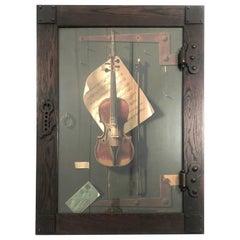 The Old Violin, William Michael Harnett Lithograph in Original Frame, circa 1887
