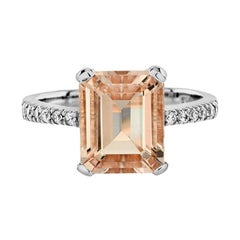 The One Emerald Cut Morganite with Diamond Engagement Ring in 18K White Gold
