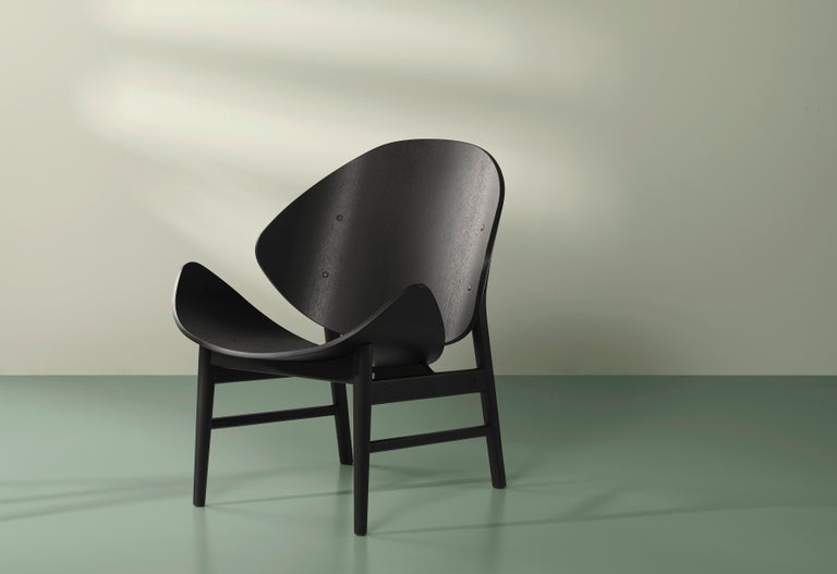 Danish Orange Lounge Chair in Pure Wood, by Hans Olsen from Warm Nordic For Sale