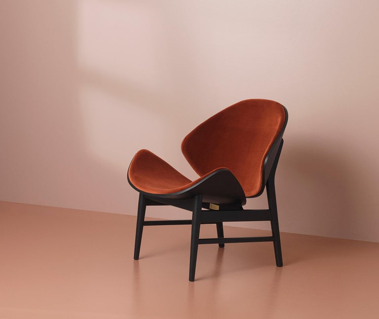 Modern Orange Monochrome Lounge Chair in Black Oak with Upholstery, by Hans Olsen For Sale