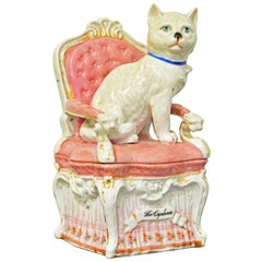 'The Orphan' English Statfordshire Two Part Porcelain Figurine of Cat on a Chair