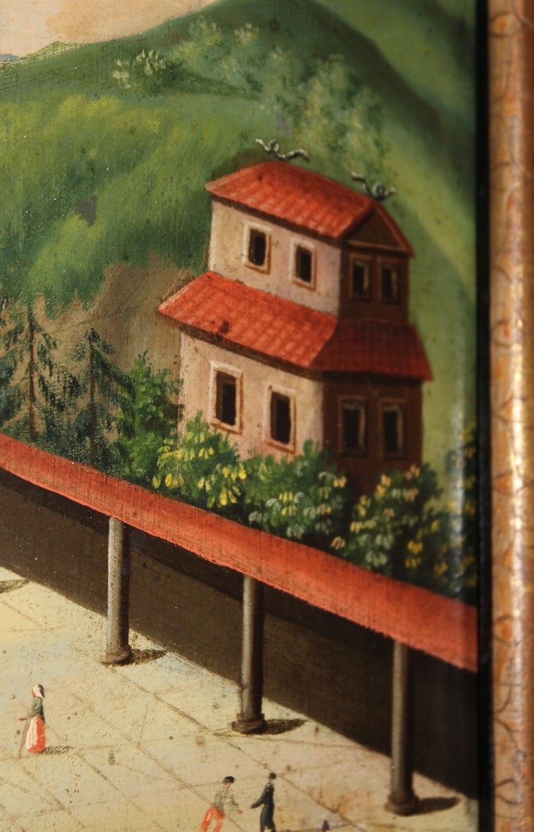 Pagoda at Nanking, Oil on Tin, with Fitted Chiming Clock, China, circa 1810 For Sale 1