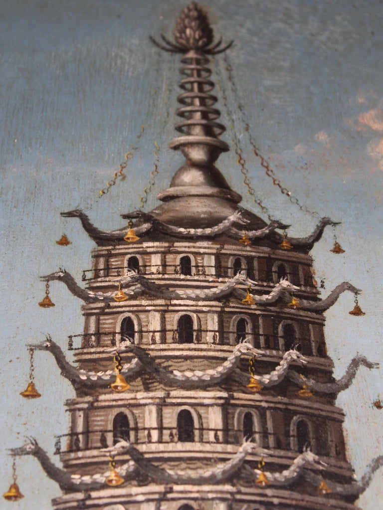 Pagoda at Nanking, Oil on Tin, with Fitted Chiming Clock, China, circa 1810 For Sale 2