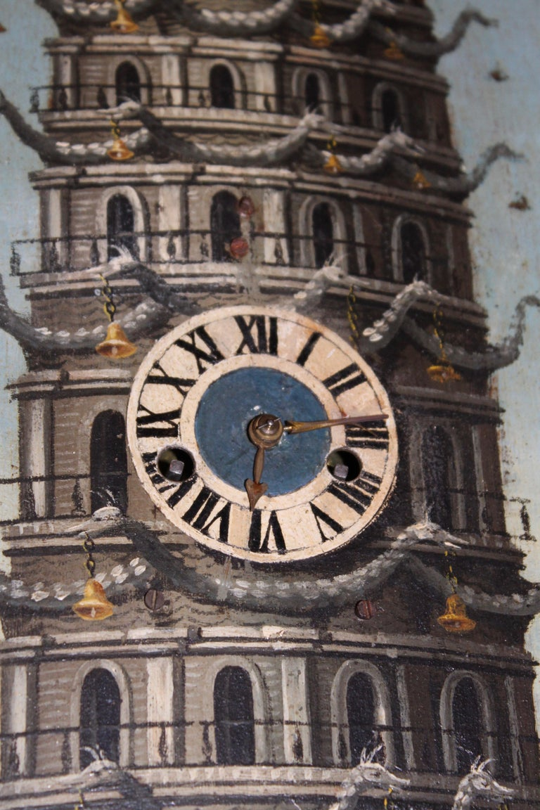 Pagoda at Nanking, Oil on Tin, with Fitted Chiming Clock, China, circa 1810 For Sale 3