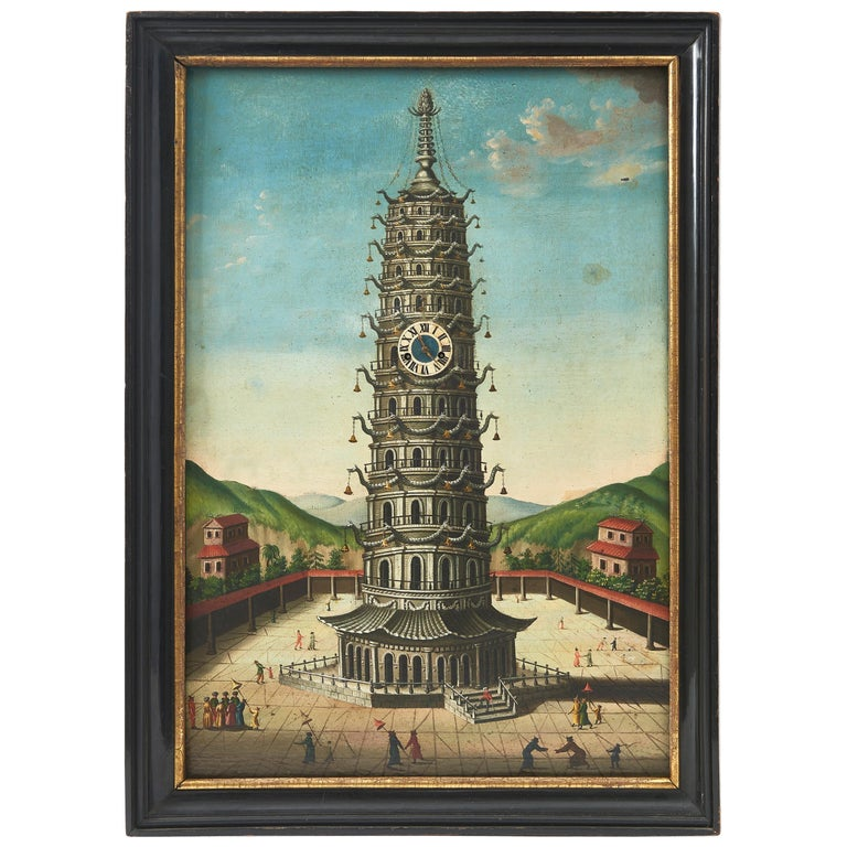 Pagoda at Nanking, Oil on Tin, with Fitted Chiming Clock, China, circa 1810 For Sale