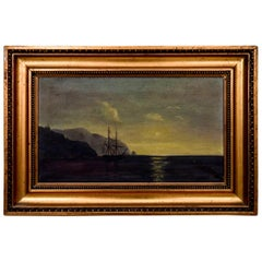 "Painting ""Ship in the Open Waters"", Scandinavia, Early 20th Century"