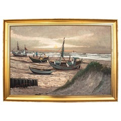 """Painting """"Ships on the beach"""""""