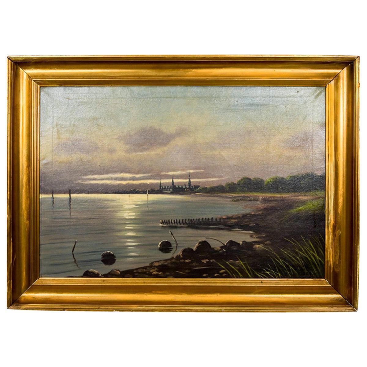 "Painting ""View on the coast"", Scandinavia, Mid-20th Century"
