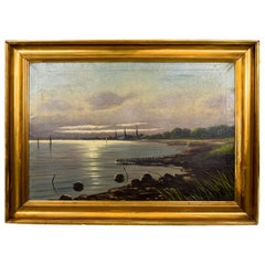"Painting ""View on the coast"", Scandinavia, Mid-20th Century"