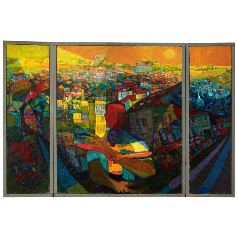 """""""The Panorama' Triptych on Canvas by Bernard Chaet Listed Artist For Sale"""