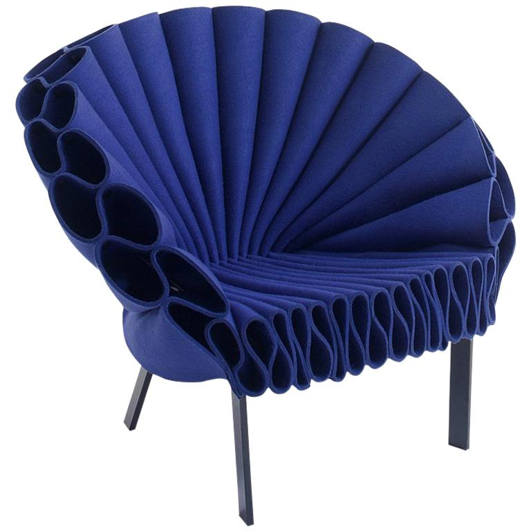 The Peacock Armchair by Dror in Blue Felt with Dark Brown Base for Cappellini For Sale