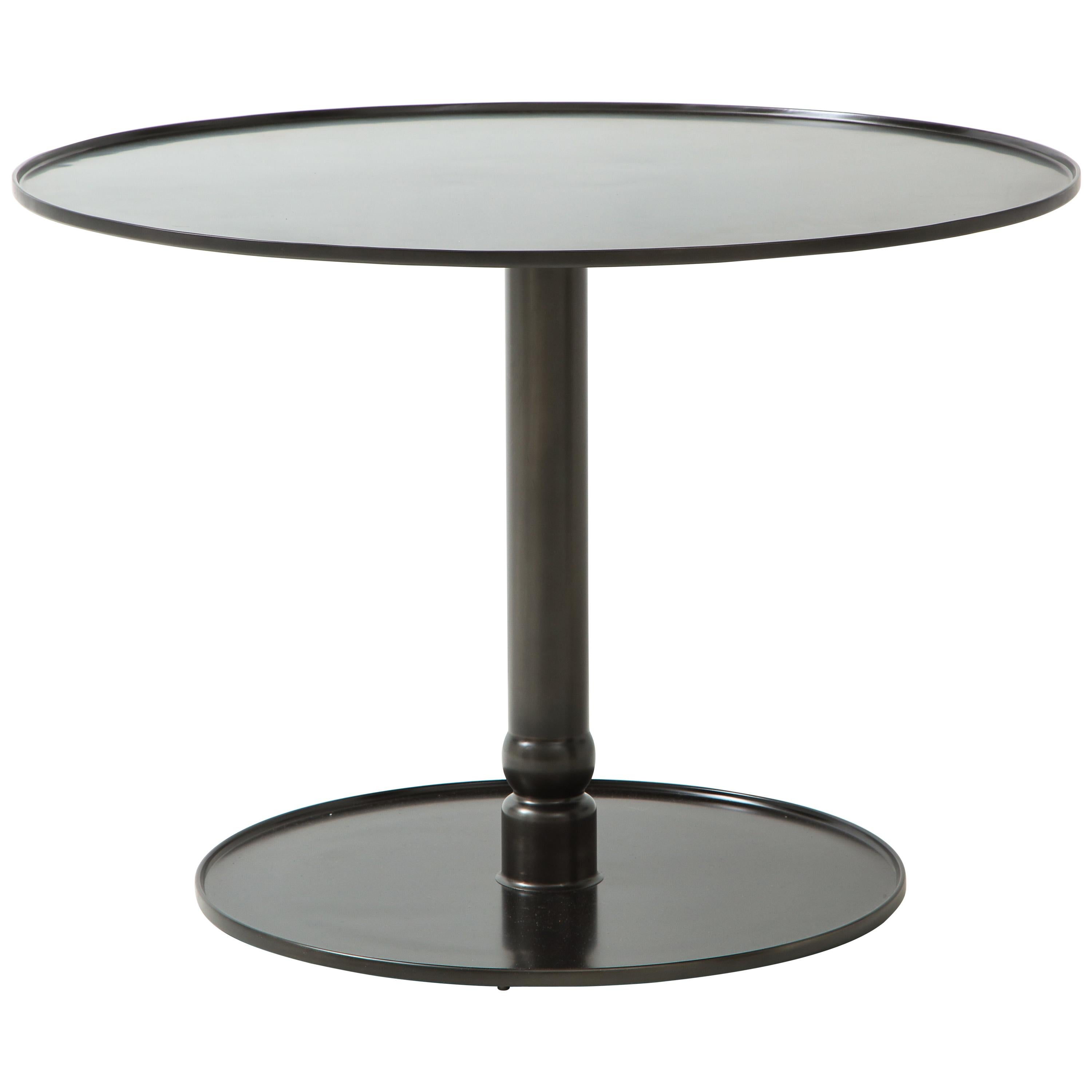 The Pedestal Table, Hand Blackened Patina, Cast Base & Forged Edges