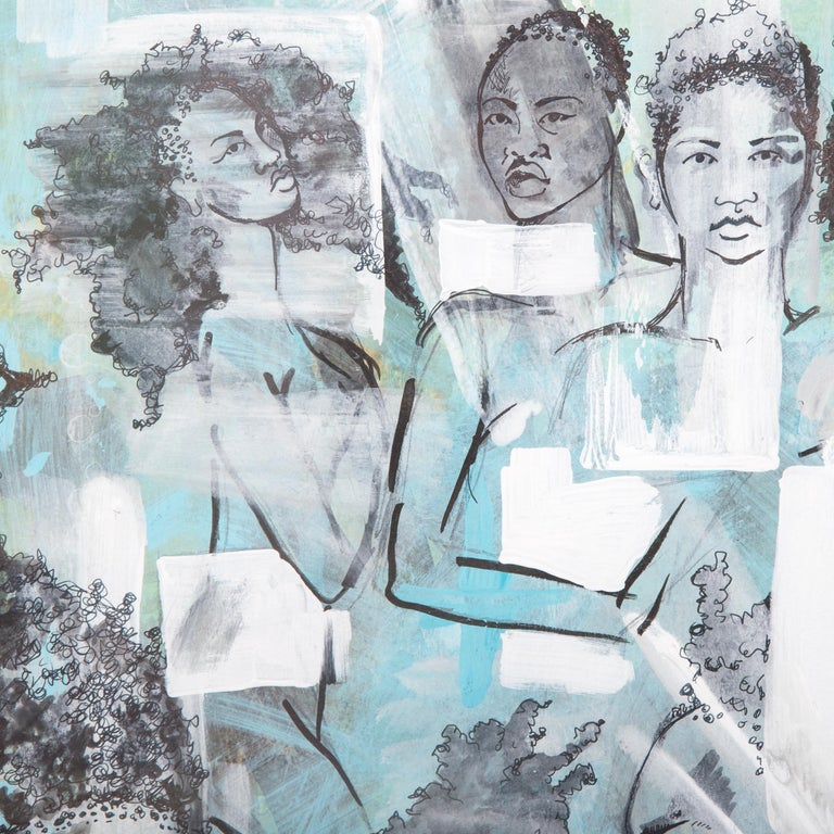 Tracy Crump uses washes of grey, white and aqua to both conceal and reveal sensitively drawn figures. Each figure stands alone as an individual, possessing unique features and hairstyles, yet, as the title of the series suggests the men and women