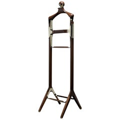 Permanent Style Valet Stand by Honorific in Solid Brass and Black Walnut