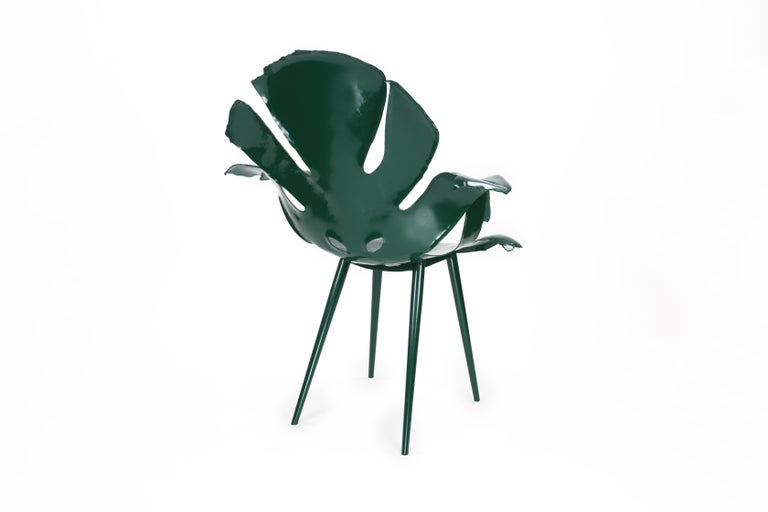 Hand-Crafted The Philodendron Dining Chair in Powder-Coated Brass by Christopher Kreiling For Sale