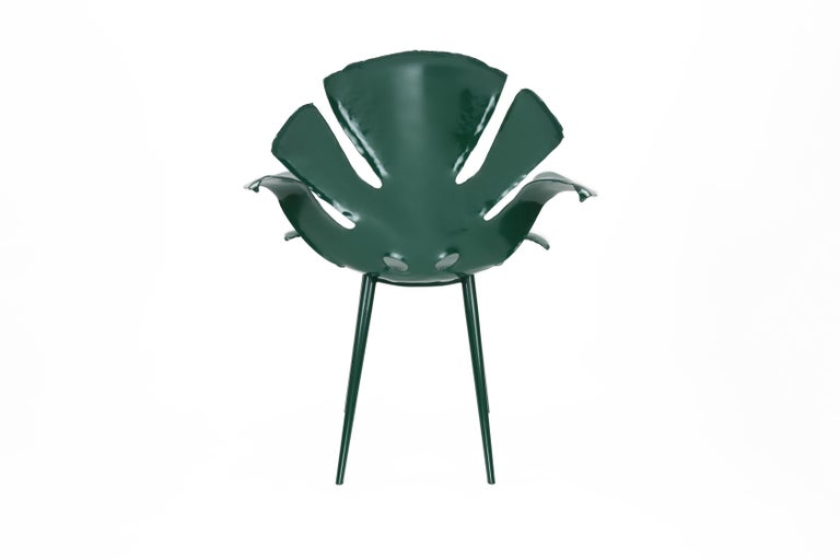 The Philodendron Dining Chair in Powder-Coated Brass by Christopher Kreiling In New Condition For Sale In Pasadena, CA