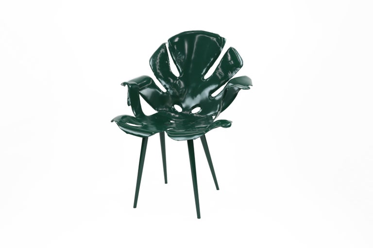 Contemporary The Philodendron Dining Chair in Powder-Coated Brass by Christopher Kreiling For Sale